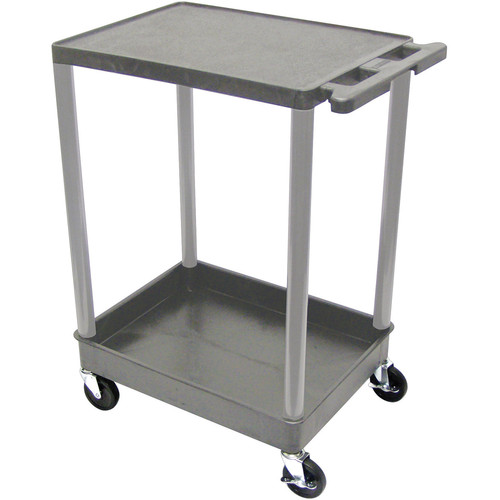 "Luxor TC21 32 x 24"" Two-Shelf Utility Cart (Gray)"
