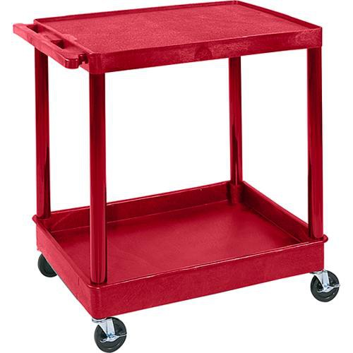 "Luxor TC21 32 x 24"" Two Shelf Heavy-duty Utility Cart (Red)"