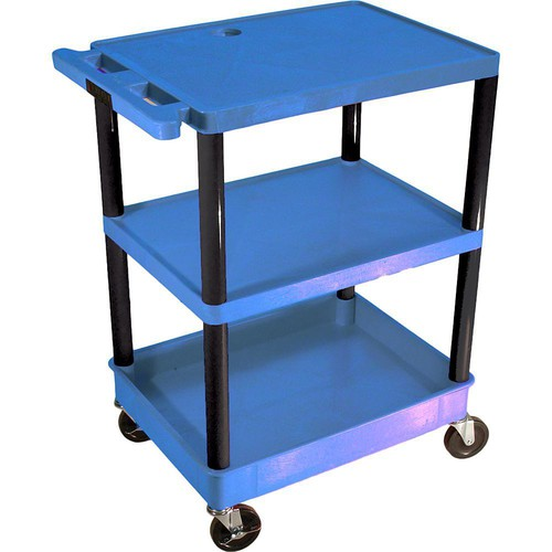 "Luxor TC221 32 x 24"" Three Shelf Heavy-duty Utility Cart (Blue)"