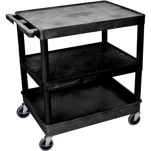 "Luxor TC221 32 x 24"" Three Shelf Heavy-duty Utility Cart (Black)"