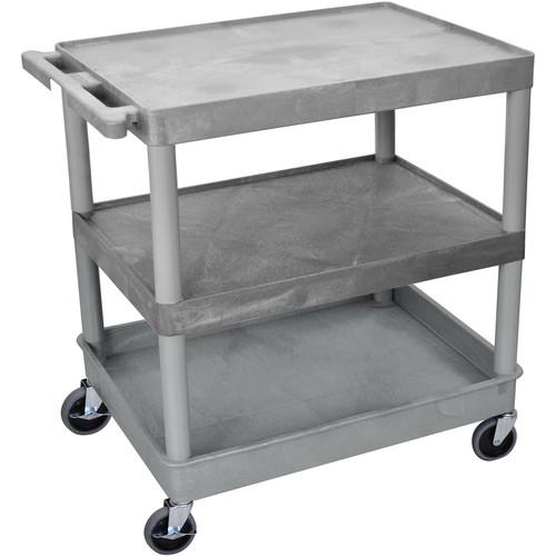 "Luxor TC221 32 x 24"" Three Shelf Heavy-duty Utility Cart (Gray)"