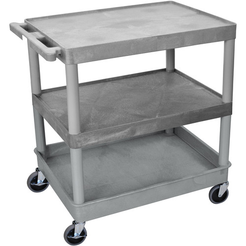 "Luxor TC221 32 x 24"" Three Shelf Heavy-duty Utility Cart (Gray)"