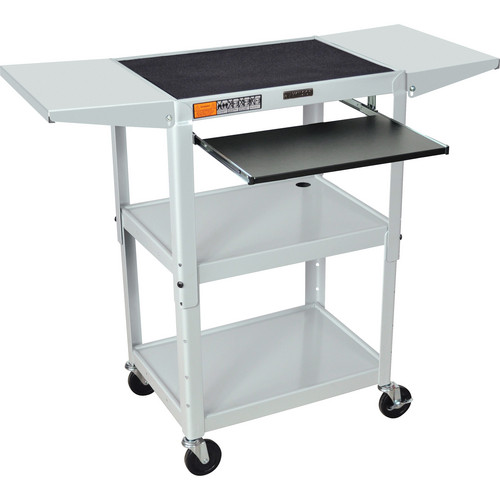 Luxor Adjustable Height Steel A/V Cart with Keyboard Shelf and Drop Leaf Shelves (Gray)