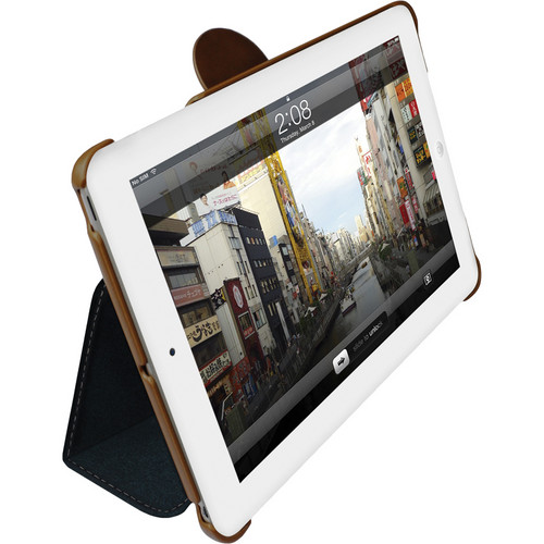 Macally Leather Case and Stand for iPad mini (Blue with Brown Trim)
