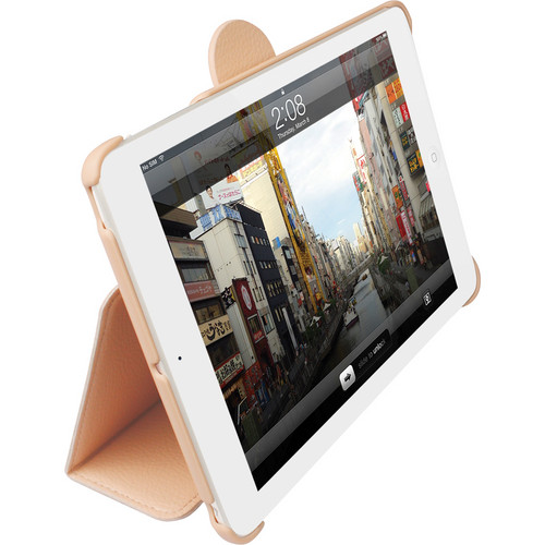 Macally Leather Case and Stand for iPad mini (Pink)
