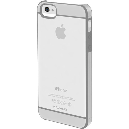 Macally Hardshell Clear Case With Soft Edges for iPhone 5 (Translucent With Light Gray Accent)