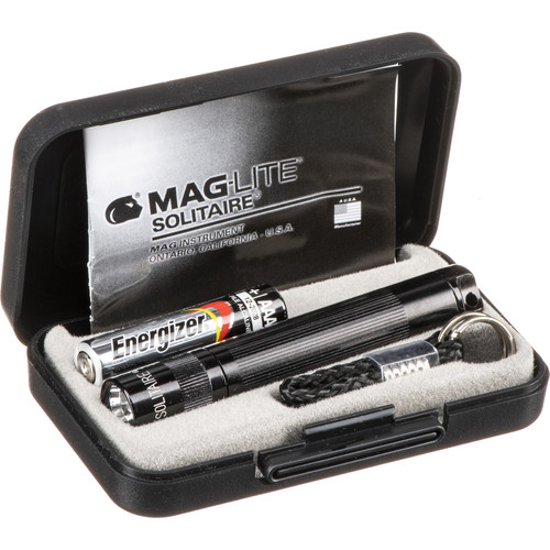 Maglite Solitaire 1-Cell AAA Incandescent Flashlight (Black, Presentation Box)