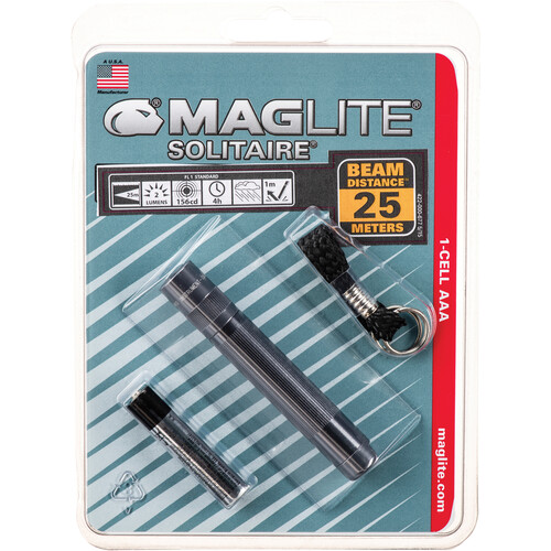 Maglite Solitaire 1-Cell AAA Incandescent Flashlight (Gray, Clamshell Packaging)