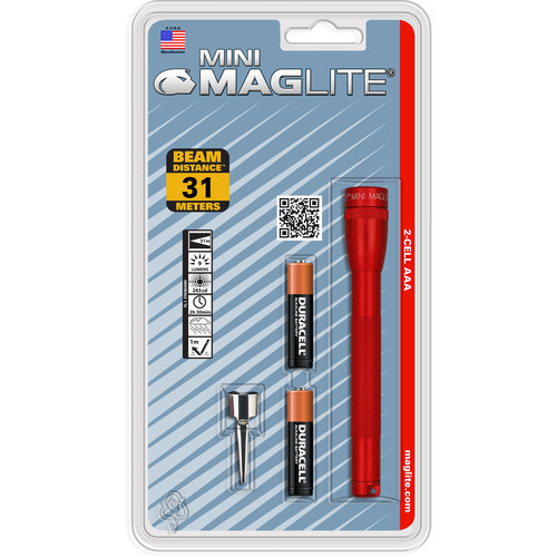 Maglite Mini Maglite 2-Cell AAA Flashlight with Clip (Red)