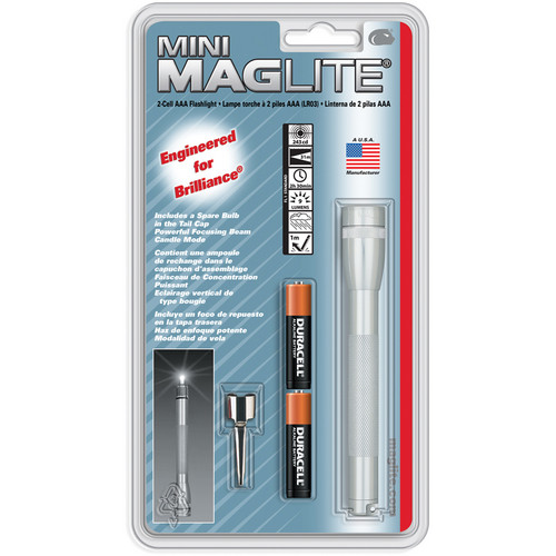 Maglite Mini Maglite 2-Cell AAA Flashlight with Clip (Silver)