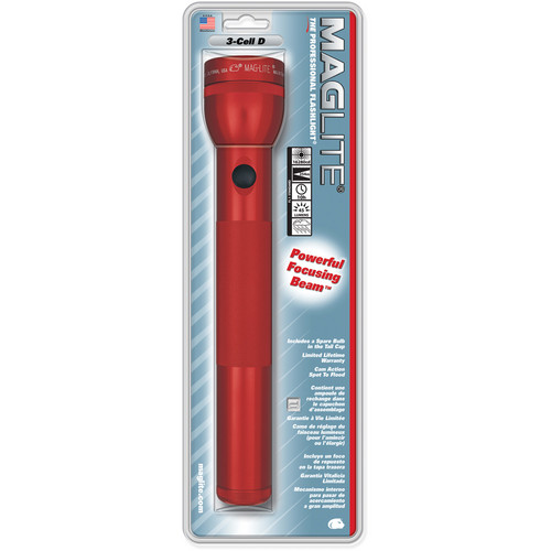 Maglite 3-Cell D White Star Flashlight (Red)