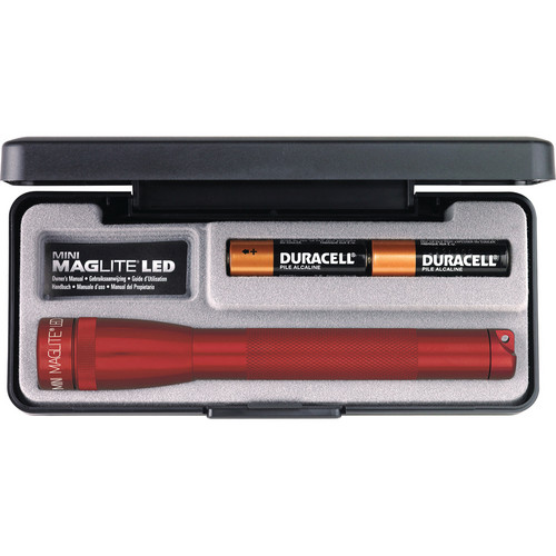 Maglite Mini Maglite 2-Cell AA LED Flashlight with Presentation Box (Red)