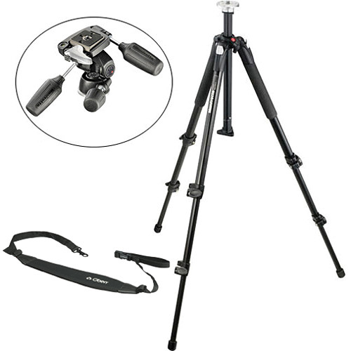 Manfrotto 055XB Aluminum Tripod Kit with 804RC2 Pan/Tilt Head and Strap