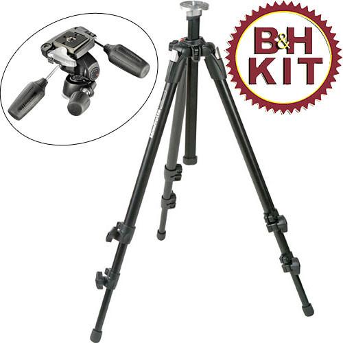 Manfrotto 055XDB Tripod Legs (Black) with 804RC2 3-Way Pan/Tilt Head