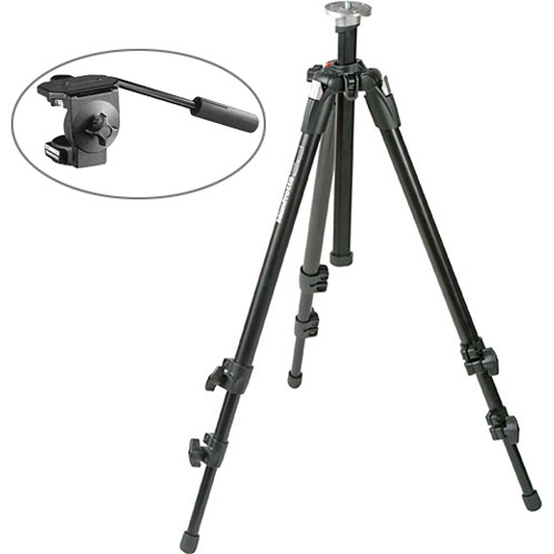 Manfrotto 055XDB Basic Tripod Kit (Black) with 128LP Micro Fluid Head