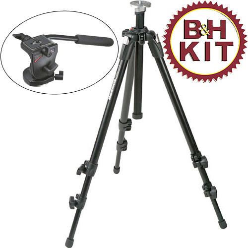Manfrotto 055XDB Tripod Legs (Black) with 700RC2 Mini Video Fluid Head - Supports 5.5 lbs (2.5kg)