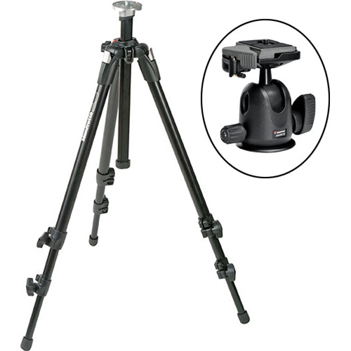 Manfrotto 055XDB Tripod Legs (Black) with 496RC2 Compact Ballhead