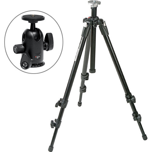 Manfrotto 055XDB Tripod Legs Kit (Black) with Wing-Nut Leg Locks & 498 Midi Ball Head