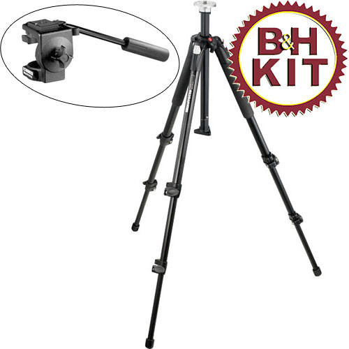 Manfrotto 190XB Tripod Legs (Black) with 128RC (3130) Micro Fluid Head