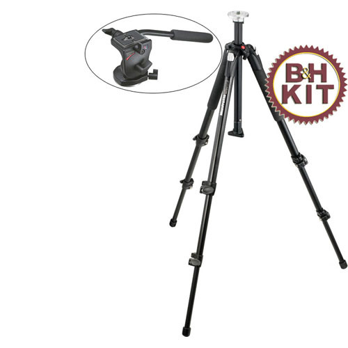 Manfrotto 190XB Tripod Legs (Black) with 700RC2 Mini Video Fluid Head