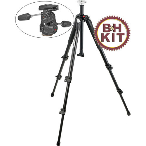 Manfrotto 190XB Tripod with 808RC4 3-Way Pan/Tilt Head Kit