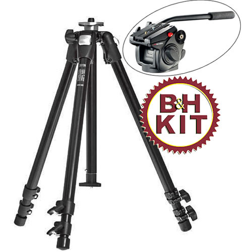 Manfrotto 190XDB 3-Section Tripod (Black) with 501HDV Head