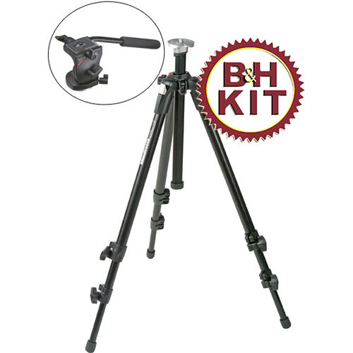 Manfrotto 190XDB Tripod Legs (Black) with 700RC2 Video Fluid Head - Supports 5.5 lbs (2.5kg)