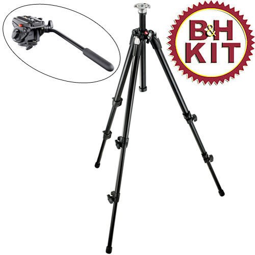 Manfrotto 190XDB with 701HDV Video Tripod System (Black)