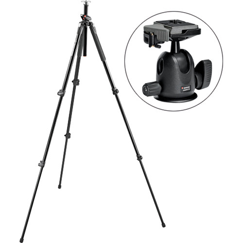 Manfrotto 190 Pro 3-Section Aluminum Tripod with Compact Ball Head Kit