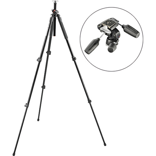 Manfrotto 190 Pro Aluminum Tripod with 804RC2 3-Way Pan/Tilt Head Kit