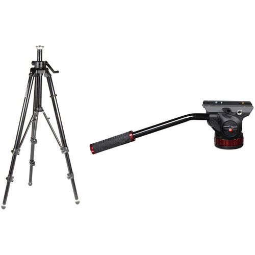 Manfrotto 475B Professional Tripod Legs (Black) & 502HD Pro Video Head with Flat Base
