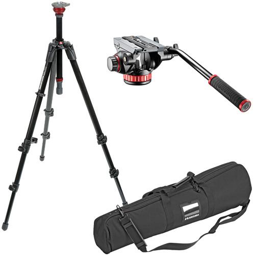 Manfrotto 502HD Pro Video Head & 755XB MDeVe Aluminum Video Tripod Kit