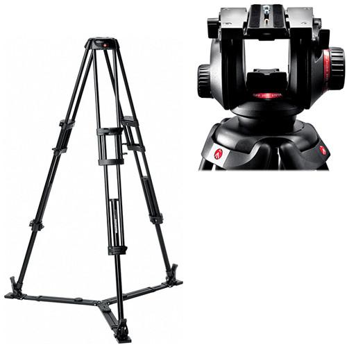 Manfrotto 504HD Video Fluid Head & 546GB Pro Video Tripod w/Ground Spreader