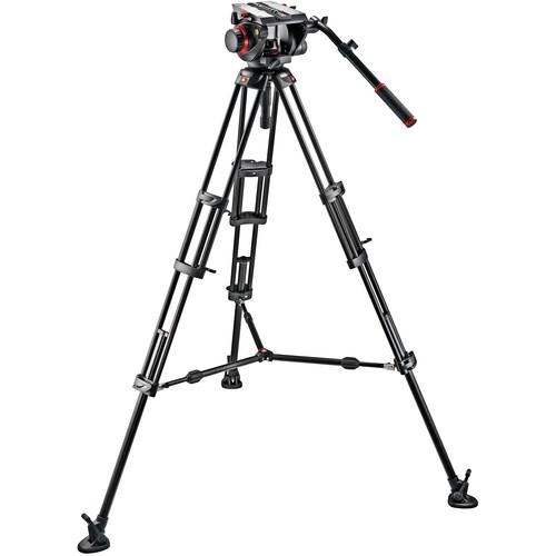 Manfrotto 509HD Video Head & 545B Aluminum Tripod Pro Middle-Twin Kit 100