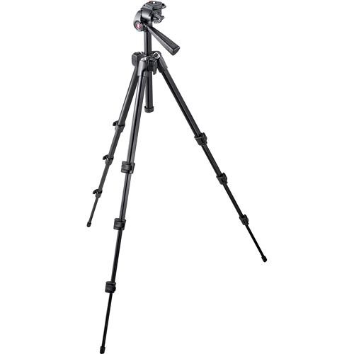 Manfrotto 7321YB 4-Section Aluminum Tripod w/ 3-Way Head - Supports 5.5 lbs (2.5kg)