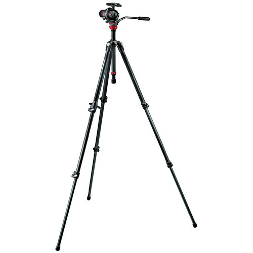 Manfrotto 755CX3 MagFibre Tripod with 055 Photo-Movie Head & Q5 Quick Release (Grey)