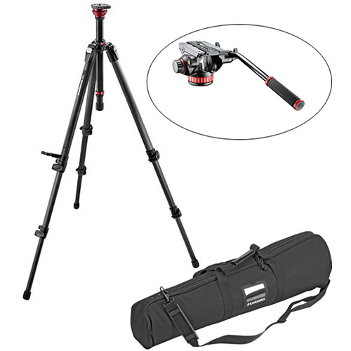 Manfrotto 755CX3 MagFibre Video Tripod Legs with Rapid Center Column & 502HD Pro Video Head with Flat Base Kit