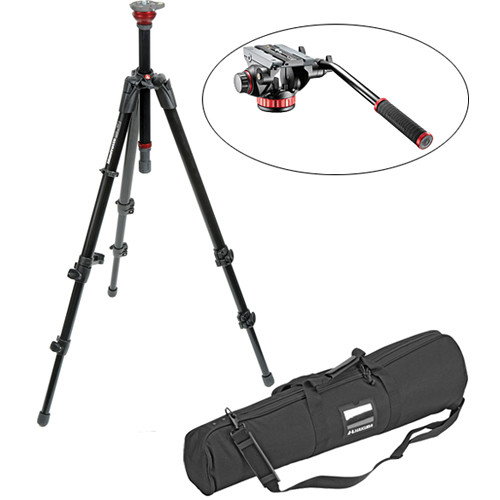 Manfrotto 755XB MDeVe Tripod, 502HD Flat Base Head, and Tripod Case Kit
