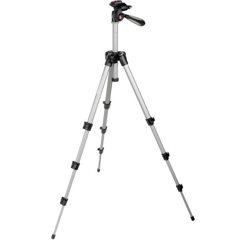 Manfrotto MK393-H Photo-Movie Aluminum Tripod QR Kit (Silver)