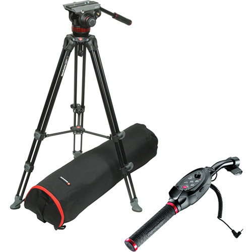Manfrotto MVH502A Fluid Head & MVT502AM Tripod W/LANC Pan Bar EX Remote Control