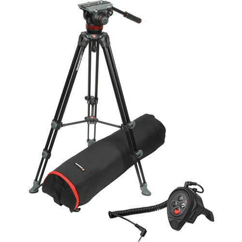Manfrotto MVH502A Fluid Head and MVT502AM Tripod With LANC Remote Control Clamp