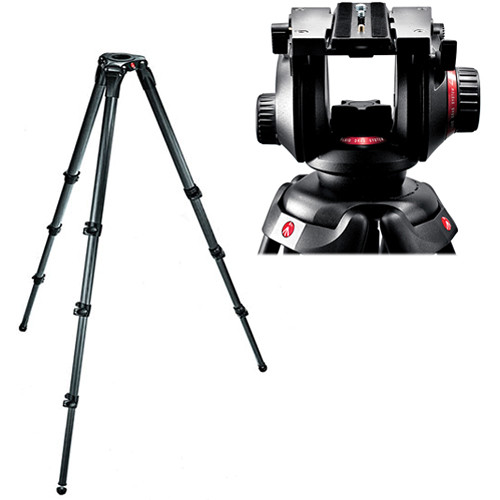 Manfrotto 504HD Video Fluid Head w/ 536 4-Section Carbon Fiber Tripod Kit