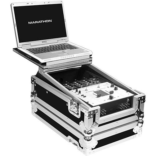 "Marathon MA-10MIXLT 10"" Flight Road DJ Mixer Case with Laptop Shelf (Black and Chrome)"