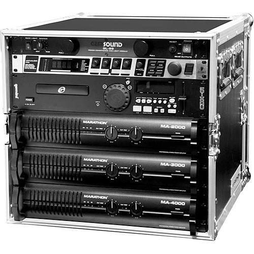 Marathon MA-10UAD  Flight Road 10U Deluxe Amplifier Rack Case (Black and Chrome)