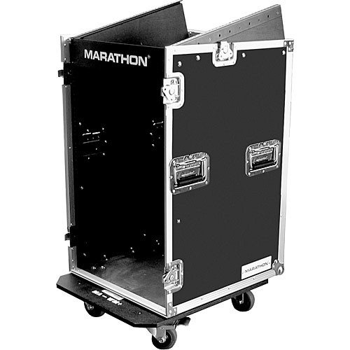 Marathon MA-11M16UW 11U Slant Mixer Rack/16U Vertical Rack System (Black and Chrome)