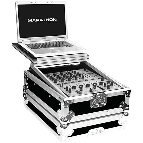 "Marathon MA-12MIXLT 12"" Flight Road DJ Mixer Case with Laptop Shelf (Black and Chrome)"