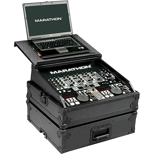 "Marathon MA-19MIXLTBLK 19"" DJ Slant Mixer Case with Laptop Shelf (Black)"