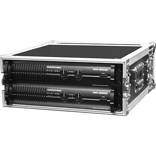 Marathon MA-4UAD  Flight Road 4U Deluxe Amplifier Rack Case (Black and Chrome)