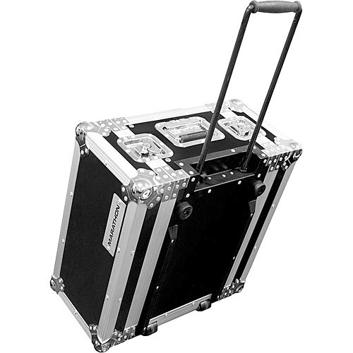 Marathon MA-4UEDHW  Flight Road 4U Wheeled Deluxe Effects Rack Case (Black)