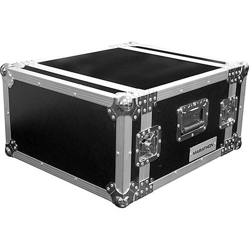 Marathon MA-6UAD  Flight Road 6U Deluxe Amplifier Rack Case (Black and Chrome)